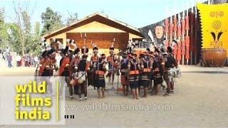 Konyak Naga tribe perform a folk song during Hormbill Festival
