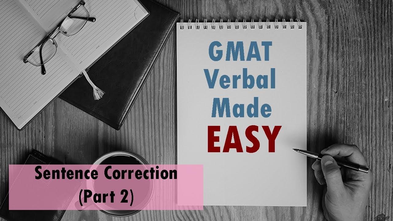 Gmat Verbal Made Easy  Sentence Correction Part 2  Youtube