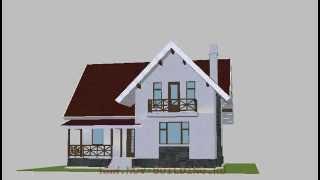 3D видео проект - уютный дом с мансардой площадью 123 м2