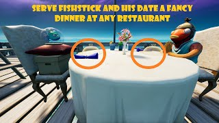 Serve Fishstick and his date a fancy dinner at any restaurant