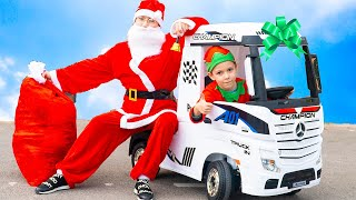 Artem and Magic story with Santa Claus | Unboxing and Assembling toy Truck