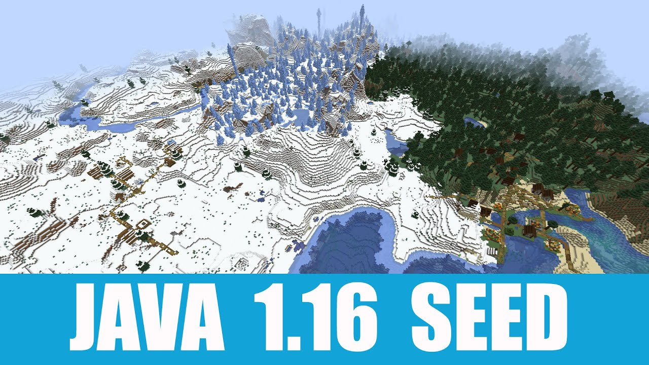 Minecraft Java 9.96 Seed: Snow village with igloo and taiga village near  ice spikes close to spawn