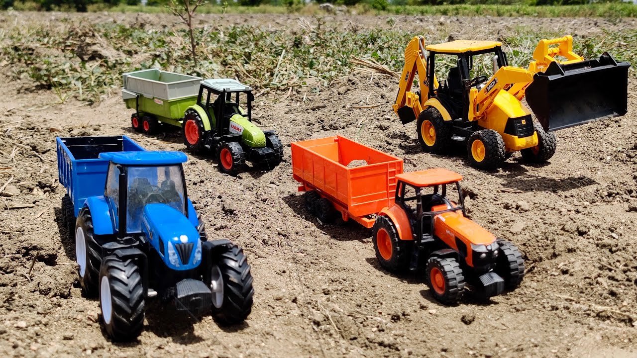 Download New Excavator JCP VS KUBOTA Tractor, New Holland Tractor, Claas Tractor Full Load by JCB Machine