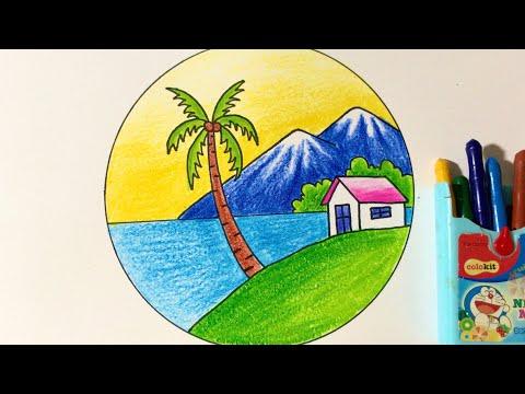 Hướng Dẫn Vẽ Tranh Phong Cảnh Hình Tròn Với Màu Sáp Thường   how to draw simple scenery for begginer
