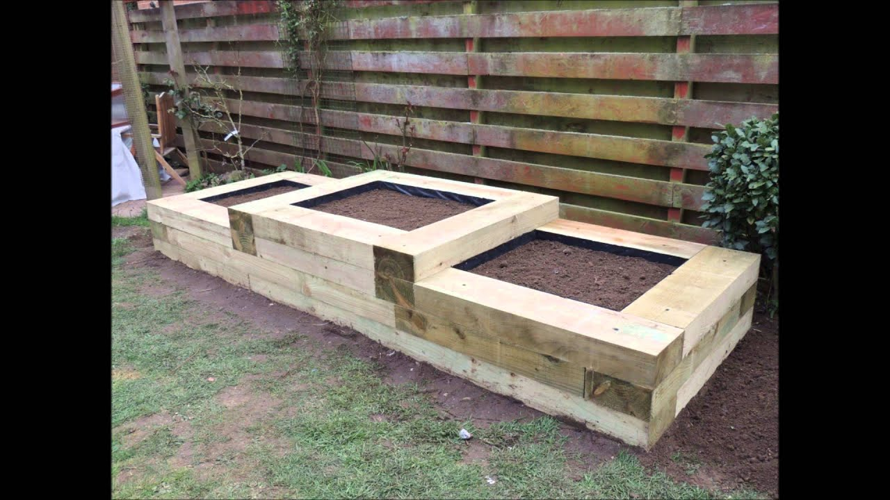 raised flower beds with the use of railway sleepers by w jarvis