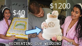 Turning a $40 Grocery Store Cake into a $1200 Wedding Cake / recreating our wedding cake