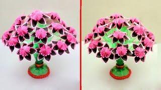 Easy Plastic Bottle Flower Vase Craft | Paper Flowers | Home Decor Ideas | easy paper flowers decor