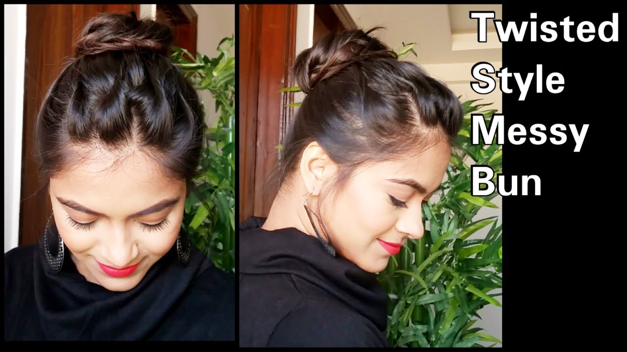 5 min twisted style messy bun hairstyle for medium/long hair//easy indian party/wedding hairstyles