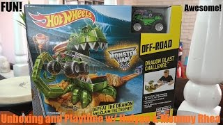 Hot Wheels Monster Jam Dragon Blast Challenge Set Unboxing with Hulyan Video