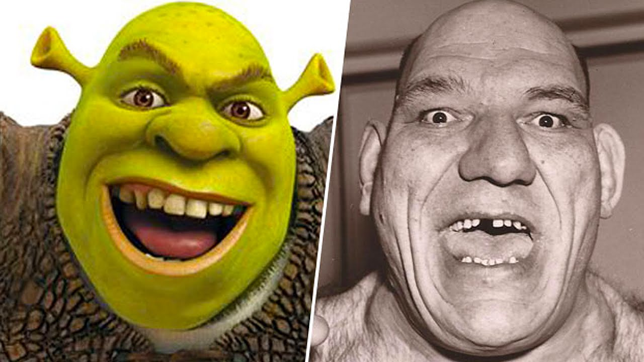 Popular Cartoon Characters Based On Real People - YouTube Maurice Tillet Shrek