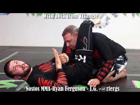 Nostos MMA - Wristlocks From Guard - ISO On Eblow - Triangle - Kimura - Omoplata