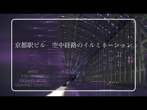 京都駅ビル 空中経路のイルミネーションなど α6600