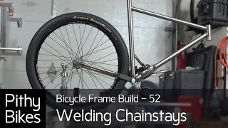 bicycle frame build 52 tig welding chinstays to bottom bracket shell