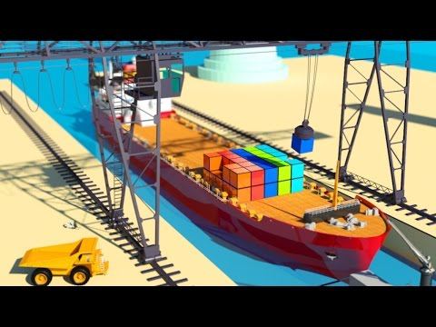 VIDS for KIDS in 3d (HD) - Crane and Cargo Ships for Children at work - AApV