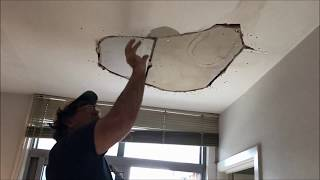 Water Damaged Section of Plaster Ceiling Repair