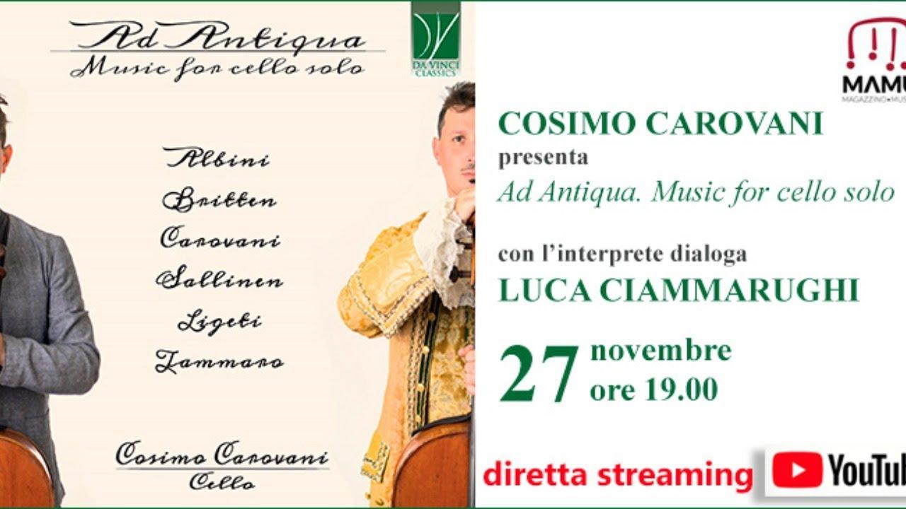 """Presentazione del Cd """"Ad Antiqua"""" music for cello solo"""