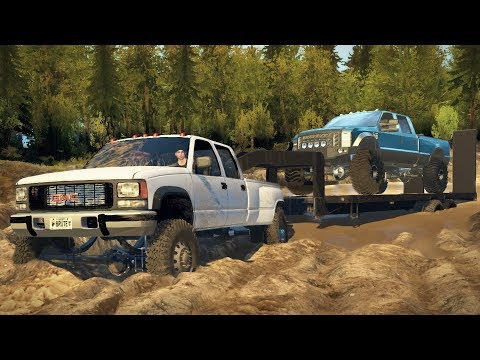 GMC Dually 4x4 Towing Challenge! Hauling Ford F-350, Off-Roading, Mudding! (SpinTires Mods)