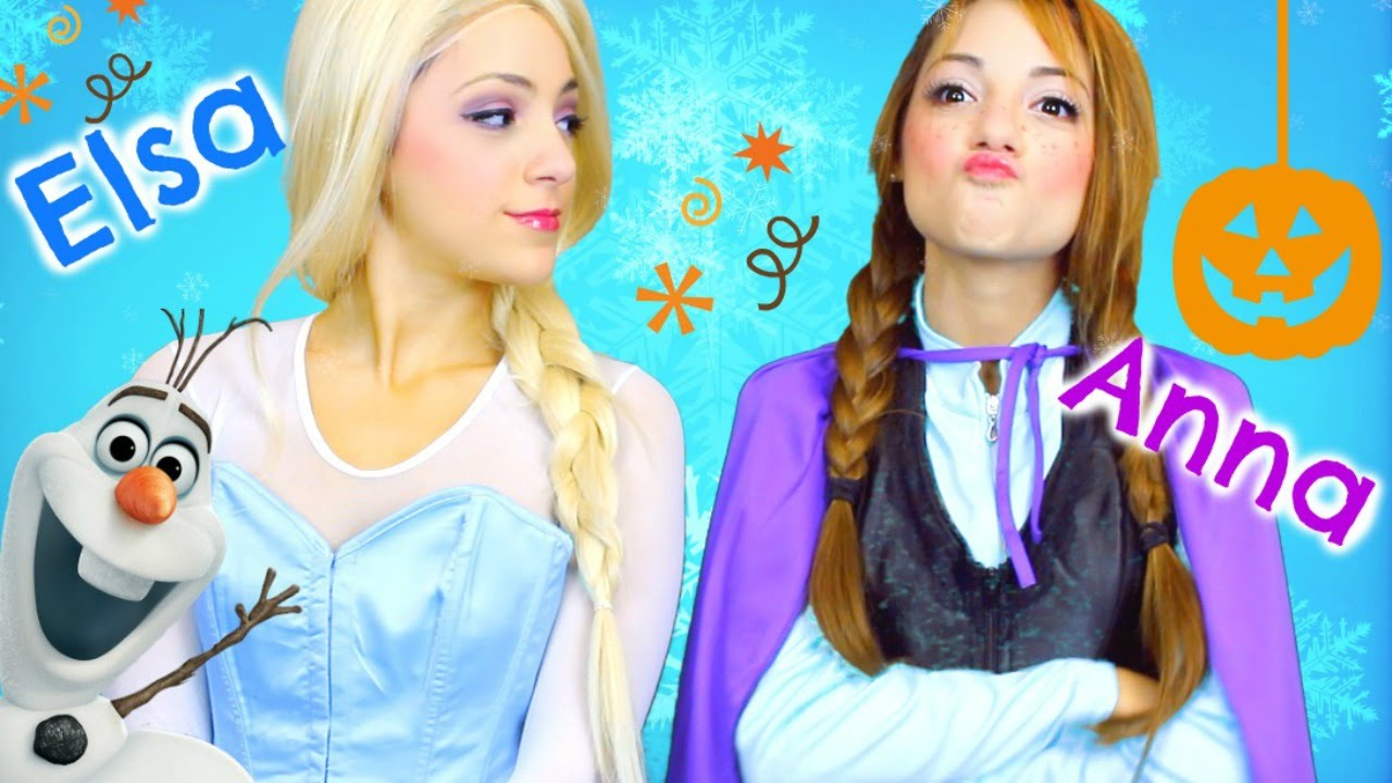 elsa and anna halloween costume hair makeup outfits youtube - Halloween Anna Costume