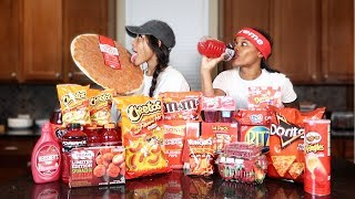 We Only Ate RED FOODS For 24 HOURS!! (IMPOSSIBLE FOOD CHALLENGE)