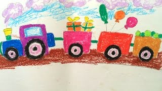 How to draw transport for kids | How to draw a train step by step easy | Vẽ tàu hỏa | Art for kids