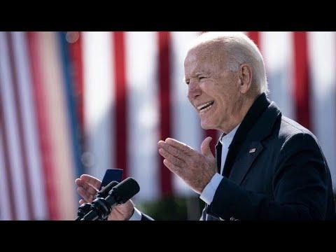 Joe Biden speaks at a drive-in campaign rally in Bristol, Pennsylvania