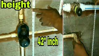 Full bathroom fittings pipe line measurements. Standard plumbing work. By Sk Iklak Azad.
