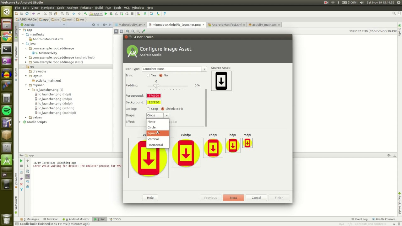 How to create app launcher icon in Android Studio