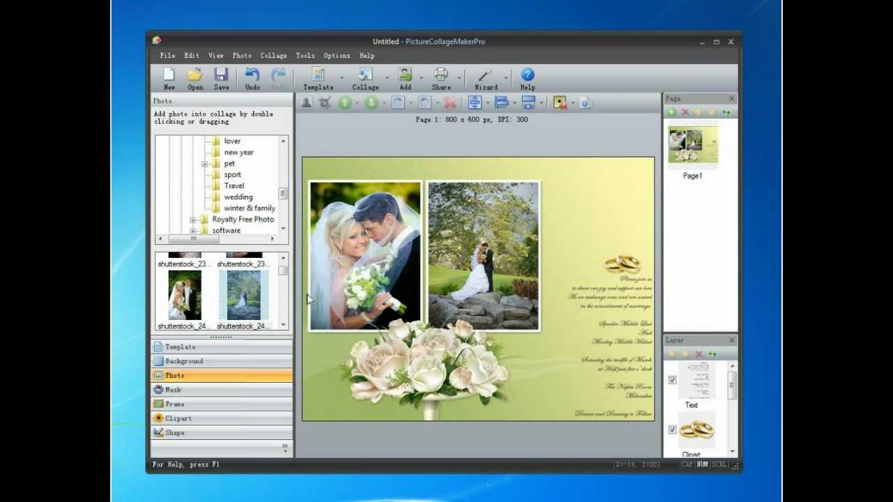 DIY Wedding Invitation Card Using Picture Collage Maker - YouTube