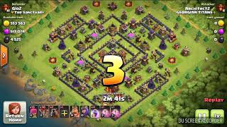 Clash Of Clans Th9 attack Th10... Win and 3 stars 💪👐👏