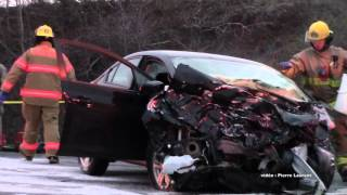 Accident face à face mortel  à St Roch de l