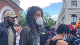 J Cole A Real One! On The Front Line Protesting In NC With No Security