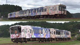 2016/10/10 #のと鉄道 #七尾線 笠師保~能登中島にて NT203のラッピング終了に伴い、2016年10月10日の定期列車1往復がNT202+NT203+NT204の花咲くいろはラッ ...