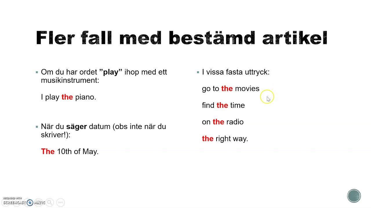 Engelsk grammatik på svenska - bestämd och obestämd artikel