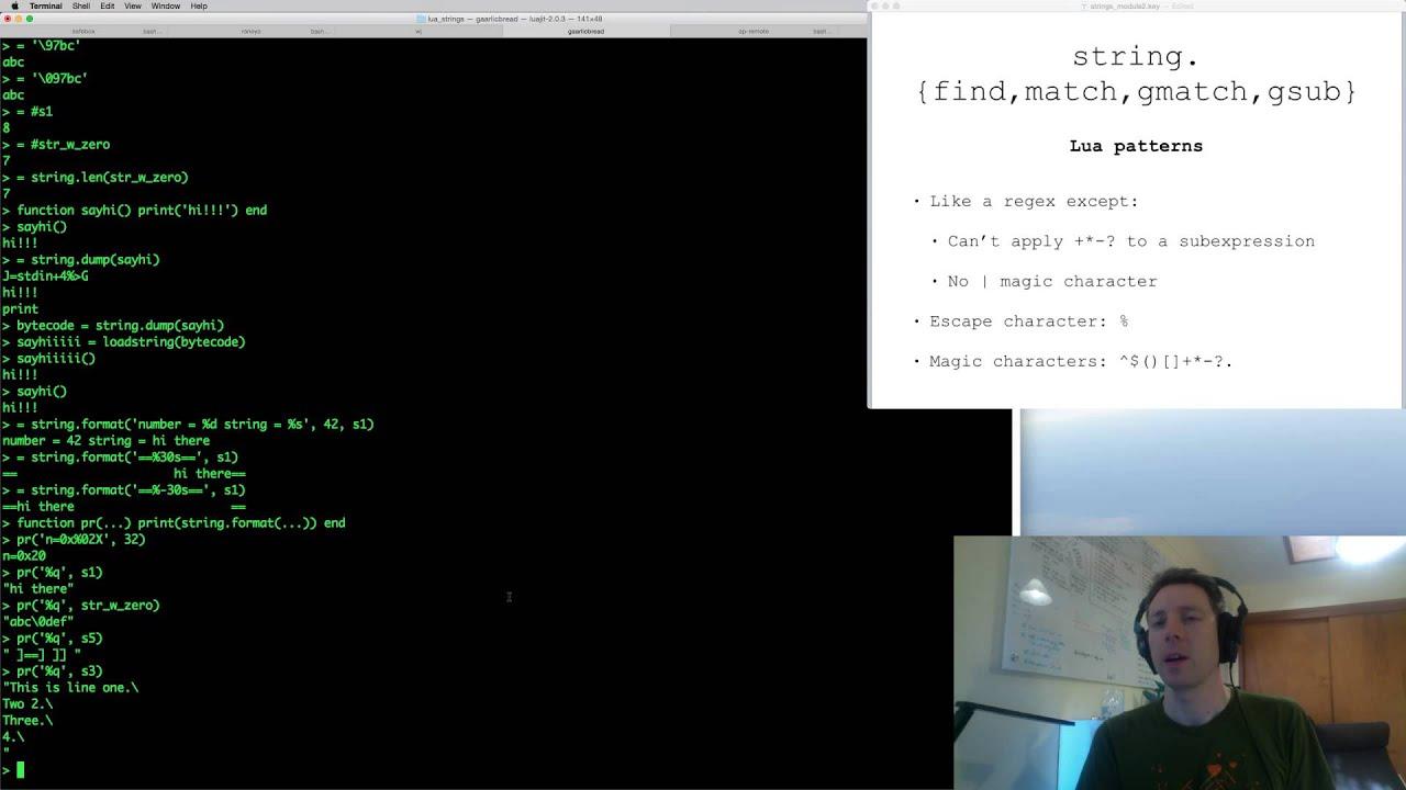 Learn the Lua string module - YouTube