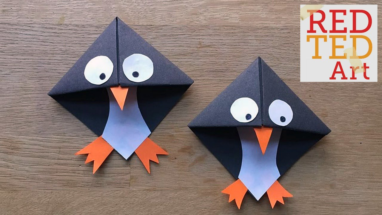 easy paper penguin corner bookmark crafts   youtube