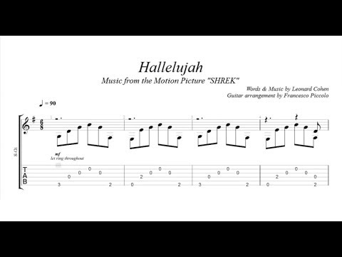 Fingerstyle Guitar Tab Hallelujah Music From The Motion Picture