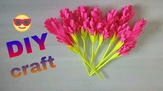 DIY...Flower pot   Amazing Paper craft,,,   candy stick craft   easy home decor idea   