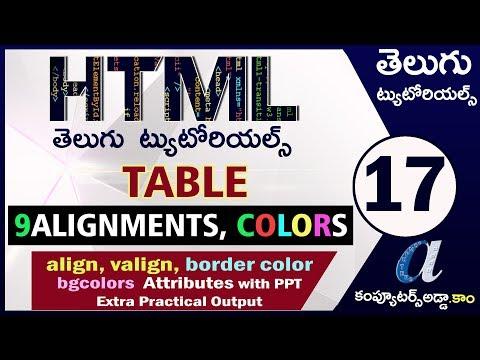 HTML Telugu Tutorials Part-17    Align, Valign & Colors In Table     Border Color, Bgcolors