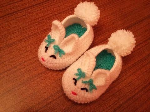 örgü bebek patiği nasıl yapılır ? crochet baby bunny slippers