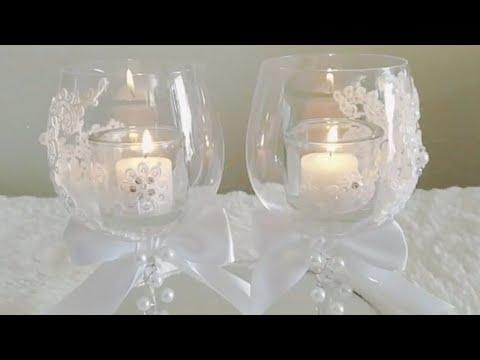 CANDLE LIGHT WINE GLASS DIY WEDDING DECOR