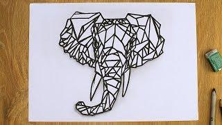 Как нарисовать слона Рисунок из геометрических фигур How to draw an elephant
