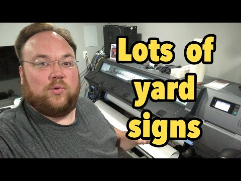 300 Memorial Day Yard Signs - vlog 249 - Print Shop Updates
