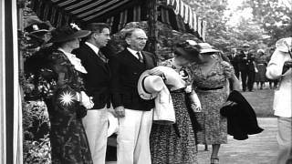 Franklin Delano Roosevelt, Jr. weds Ethel Du Pont and guests attend their wedding...HD Stock Footage