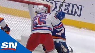 Jordan Eberle Shaken Up After Ryan Lindgren Shoves Him Face First Into Post