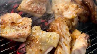 숯불 닭다리살 마늘 소금 구이 (korean style…