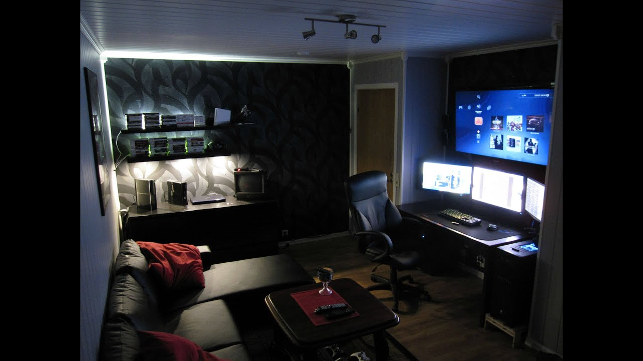 2016 man cave gaming office setup pt 1 youtube. Black Bedroom Furniture Sets. Home Design Ideas