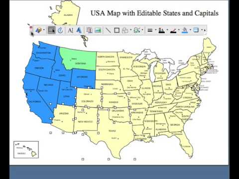 Map Of Usa States And Canada.Editable Usa And Canada Powerpoint And Illustrator Royalty Free Clip