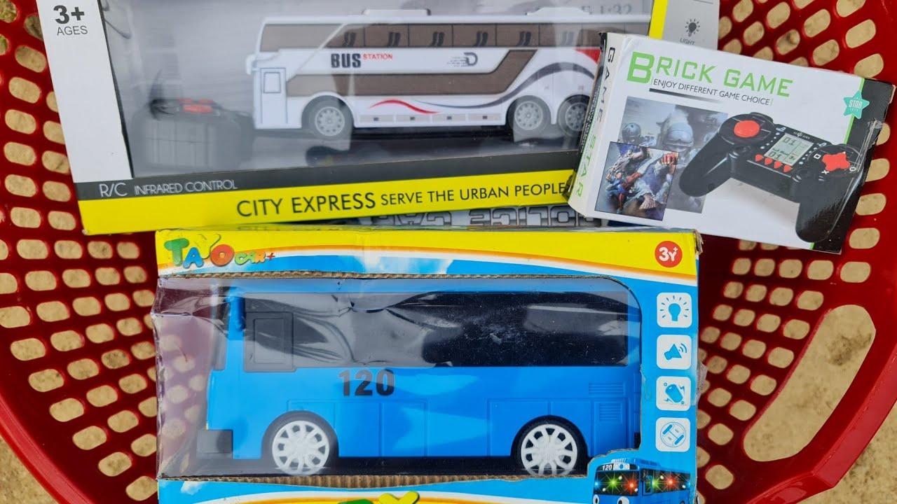Unboxing Mainan Mobil Polisi, Bus Sekolah, Loader dan Bus Tayo