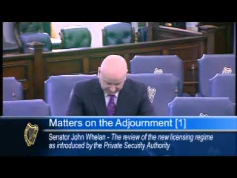 Senator John Whelan speaking on the Private Security Authority