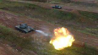 Стрельба танков. Квадрокоптер